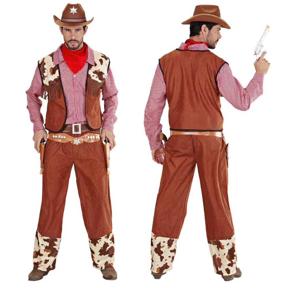 - Uomo Costume Western L L Cowboy CAMICIA CON GILET Pantaloni Bandana