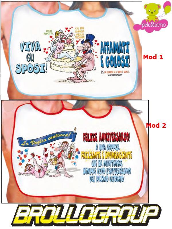 Popolare Doppio Sposi, Bavaglione Gadget Scherzo Matrimonio | Pelusciamo.com CH85
