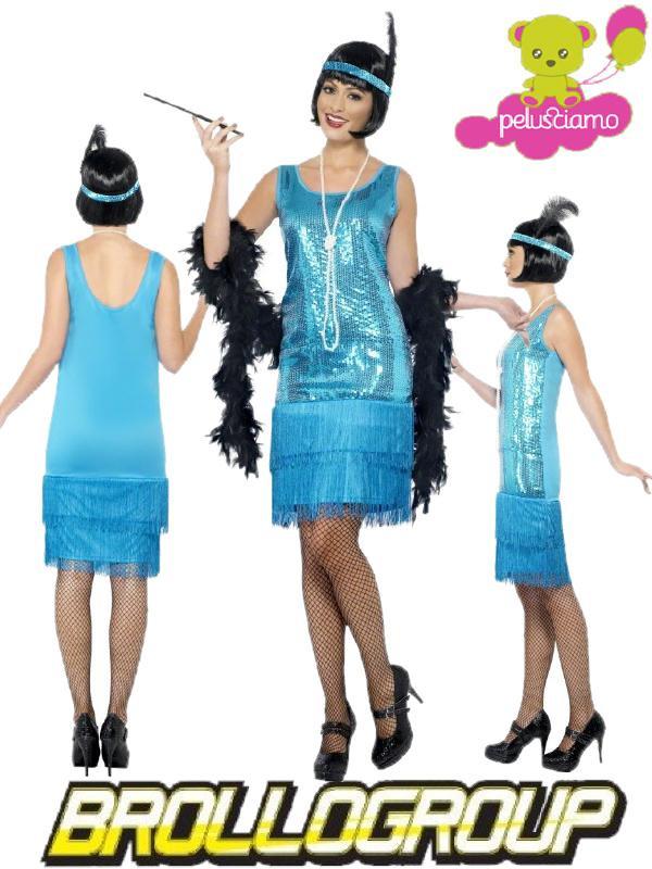 Costume carnevale donna charleston azzurro anni 20 30 - Costume da bagno anni 30 ...