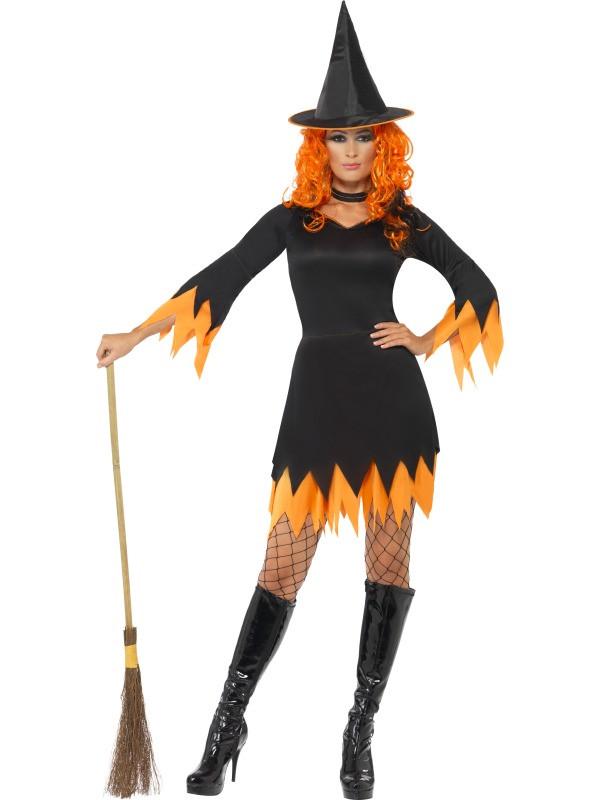Vestiti Halloween Strega.Costume Halloween Carnevale Donna Streghetta Strega Arancio 11814