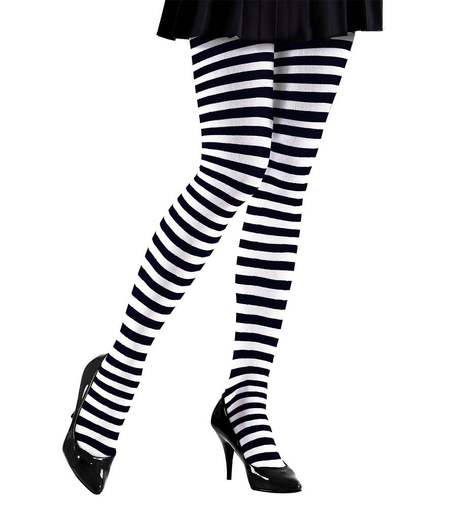 Calze Bianco Nere Accessori Costume Carnevale Donna PS 17196