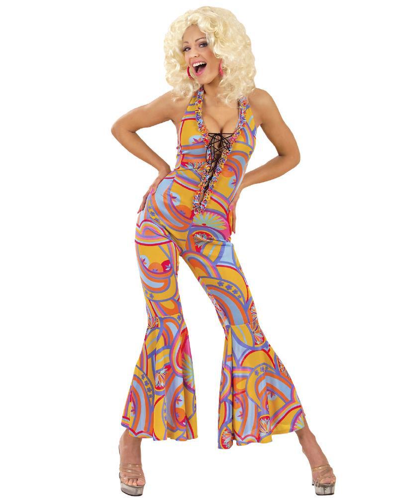 online retailer f3567 8a710 Costume Carnevale Donna Anni 70, Vestito Multicolor Funky Chick PS 11343