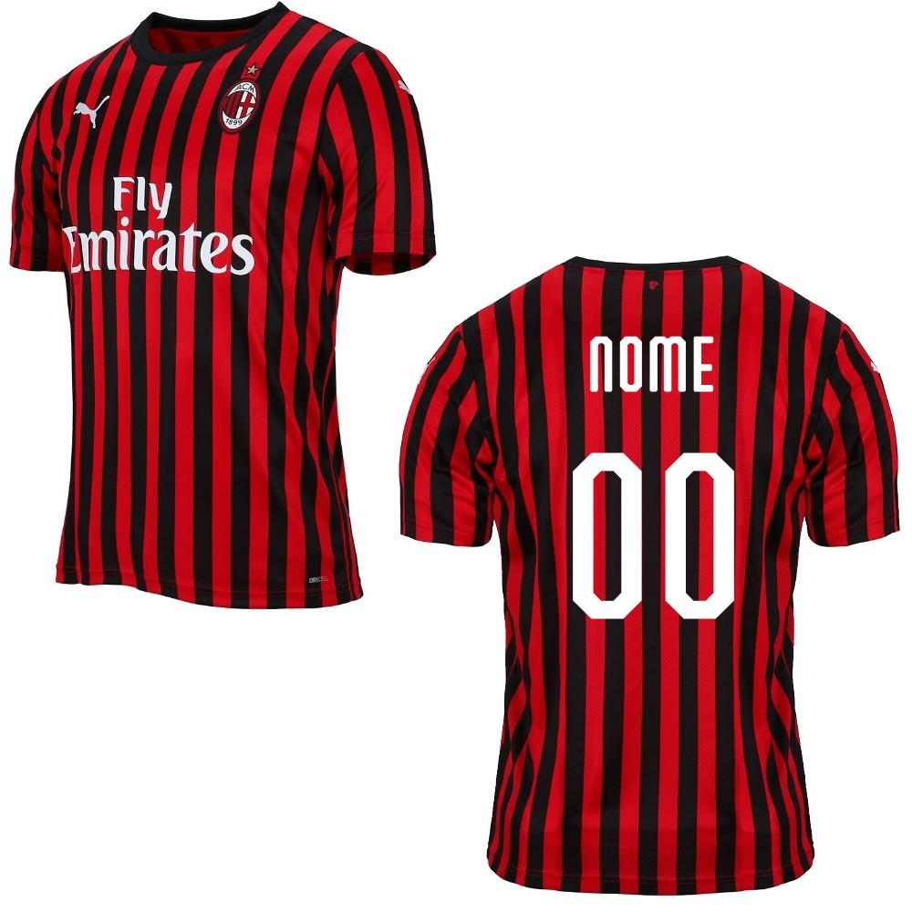 Maglia Calcio Ufficiale Milan Gara Home Bambino Ragazzo Personalizzabile 2019/2020 PS 31760