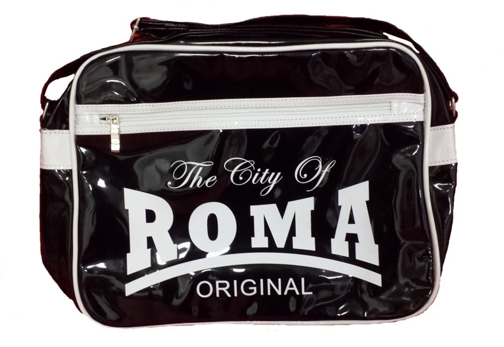 ad7509a4c4 Borsa a tracolla plastificata The City of Roma nera   Pelusciamo.com