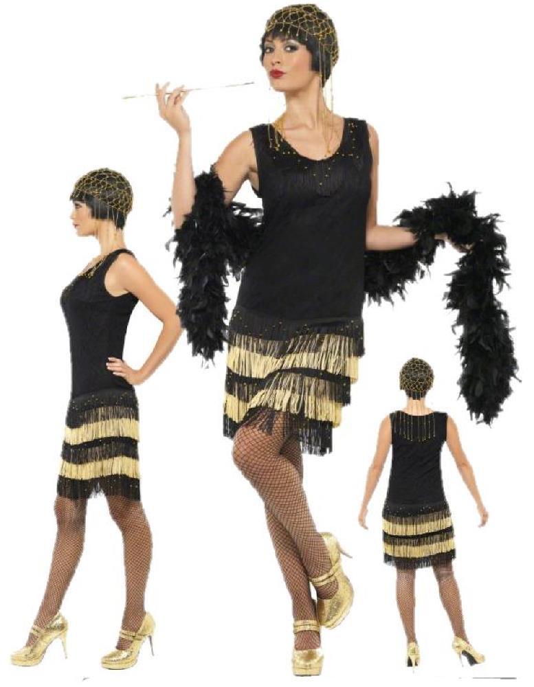 Costume carnevale donna abito ballo charleston nero oro - Costume da bagno anni 30 ...