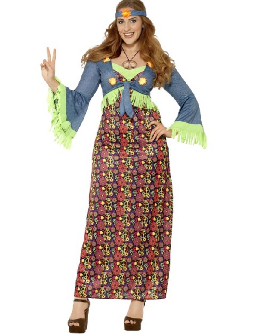 Costume Carnevale Donna Hippie Anni 60 PS 08059 Taglie Forti Pelusciamo  Store Marchirolo f1b8d36f08b