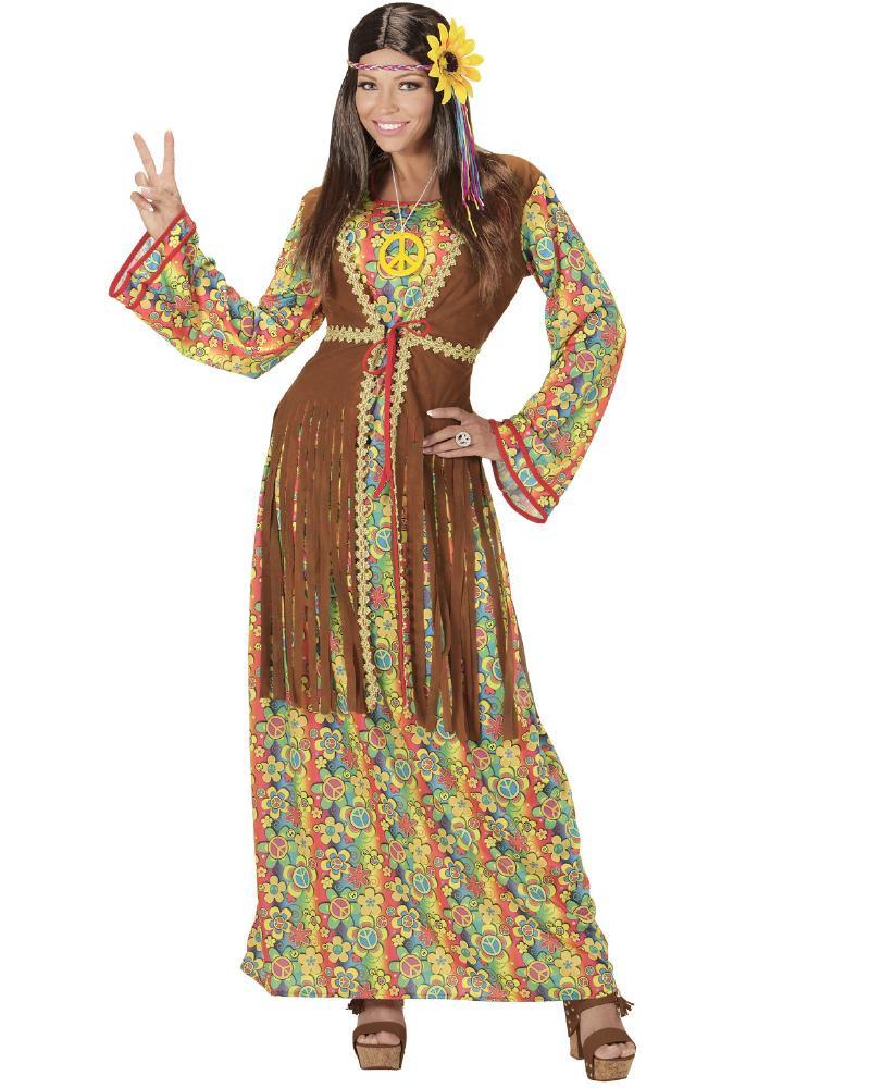 Costume Carnevale Donna Hippie Anni 60 PS 26134 Taglie Forti Pelusciamo Store Marchirolo