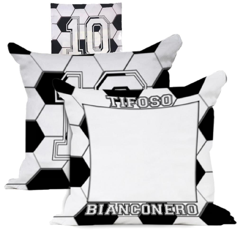 Cuscino Tifoso BiancoNero 40x40 cm Personalizzabile Foto o Frasi PS 10594 Gadget Personalizzato Pelusciamo Store Marchirolo