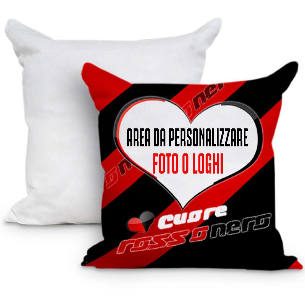 Cuscino Tifoso Cuore RossoNero 40x40 cm Personalizzabile Foto o Frasi PS 10596 Gadget Personalizzato Pelusciamo Store Marchirolo