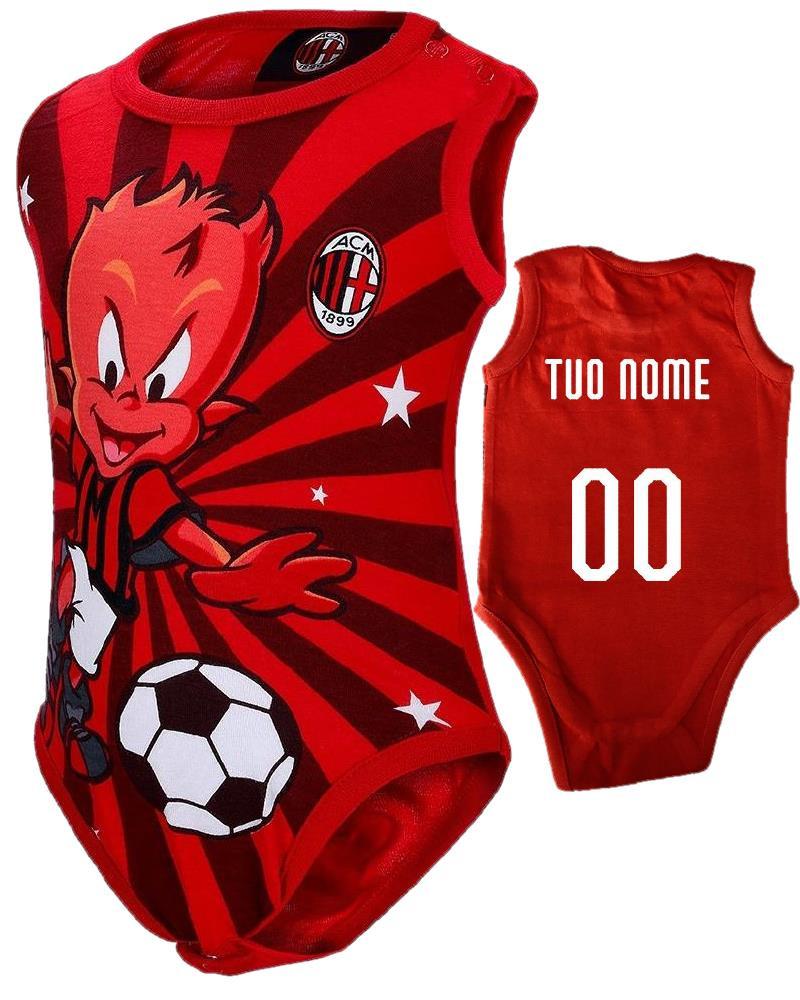 Body Neonato Smanicato Milanello Abbigliamento Ufficiale Ac. Milan PS 12644 pelusciamo Store Marchirolo
