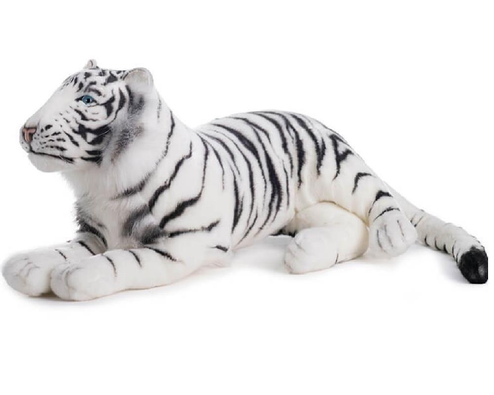 Peluche tigre bianca sdraiata 76 cm peluches hansa ps 07596