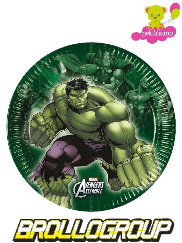 Piatti Carta Hulk 20 cm , Arredo Festa Compleanno Avengers