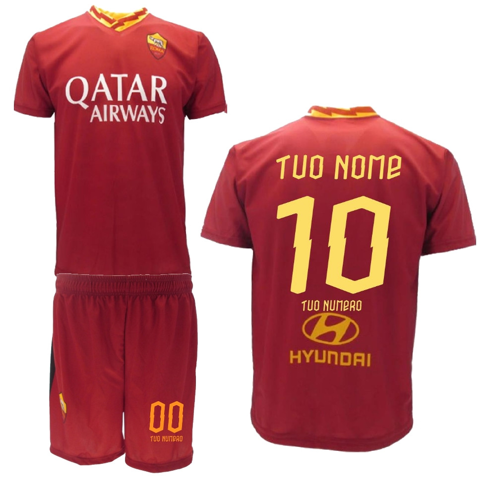 Completo T Shirt E Pantaloncini Ufficiale AS Roma Adulto E Bambino ...