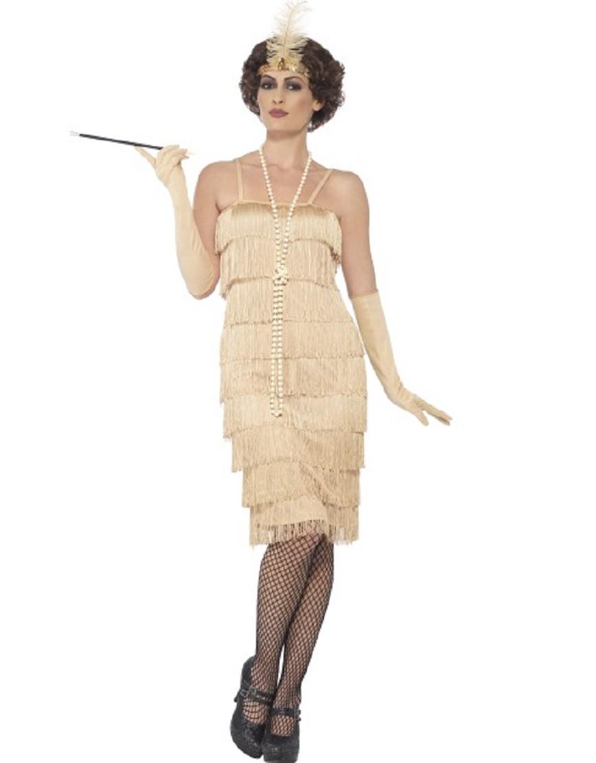 Costume Carnevale Donna Charleston Gold Flapper Gonna Lunga PS 25327