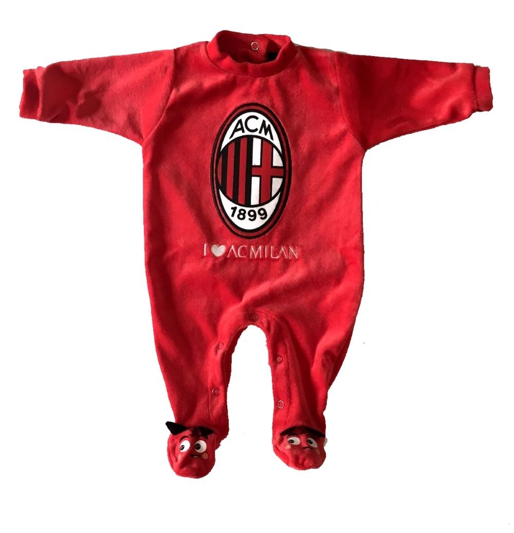 Tutina Ciniglia Milan Logo Neonato  Bambino Primi Mesi   Pelusciamo.com