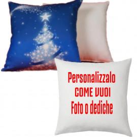 Cuscino Albero Natalizio Azzurro Personalizzabile 38x38  cm PS 10341 Gadget Personalizzato Pelusciamo Store Marchirolo