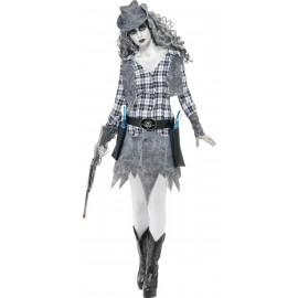 Costume Halloween Carnevale Donna CowGirl Fantasma Smiffys  Far West | Pelusciamo.com