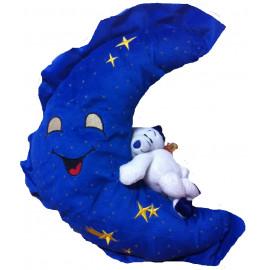 Peluche a forma di Luna Blu con orsetto Musicale 40 cm. *01461