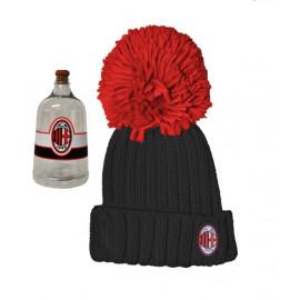 Abbigliameno Milan calcio Cappello nero bimbo ponpon rosso in box *17271