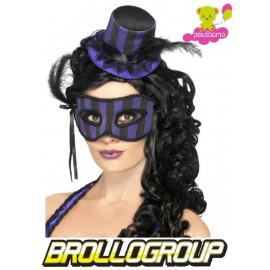 Set Burlesque Mascherina con Cappellino Viola, Accessori Carnevale Halloween | Pelusciamo.com