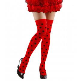 Calze Parigine a Pois Coccinella Per Costume Carnevale PS 10109