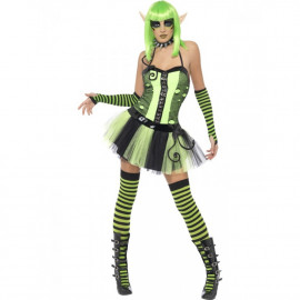 Costume Halloween Carnevale Donna Punk Elfo verde Fluo Smiffys