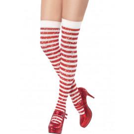 Accessori abito natalizio Calze Autoreggenti Bianco Rosso Glitter smiffys *14577 pelusciamo.com