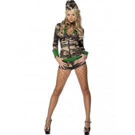 Costume Carnevale Donna vestito mimetico Militare Smiffys 30819 *09885