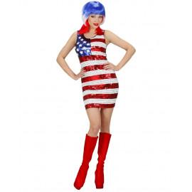 Costume Carnevale Donna miniabito Miss America vestito in pailettes *19993 pelusciamo store