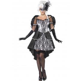 Costume Halloween Carnevale Donna Barocco Grigio Ali *18666 Abito Veneziano