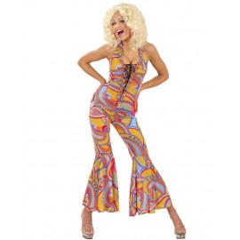 Costume Carnevale Donna Anni 70, Vestito Multicolor Funky Chick PS 11343