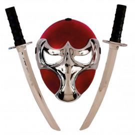 Set Ninja lusso, Rosso Argento Accessori Costume Carnevale PS 09335 Pelusciamo Store Marchirolo