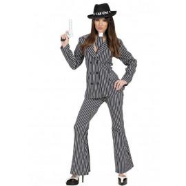 Costume Carnevale Donna gessato Gangster giacca pantalone cravatta *19782 pelusciamo store