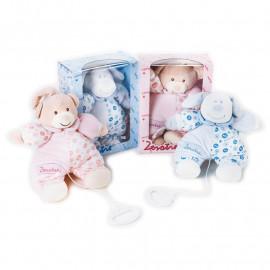 Carillon in peluche neonato zerotre prima infanzia azzurro o rosa PS 04133