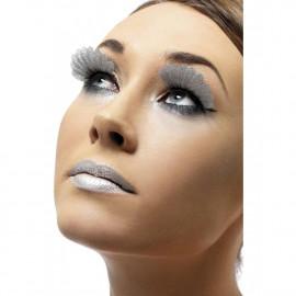 Accessori costume carnevale Ciglia Finte Piume Argento Glitter makeup | Pelusciamo.com
