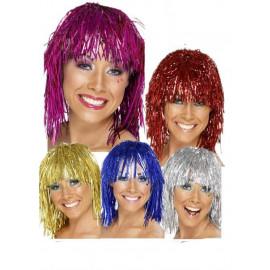 Parrucca Donna Cyber Tinsel Adulto Anni '70 *10214  Costume Carnevale