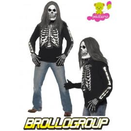 Costume T-shirt Maglietta Halloween Carnevale Scheletro 3D Fluo Smiffys