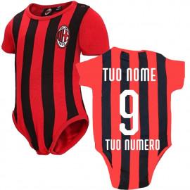 Body Neonato Higuain 9 Rosso Nero Abbigliamento Ufficiale Ac. Milan PS 12685 Personalizzato