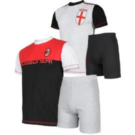 Pigiama ragazzo Milan Corto Abbigliamento Ufficiale Calcio PS 08712 pelusciamo store