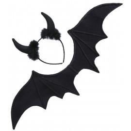 Set Da Diavoletta Nera Costume Halloween Donna