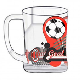 Boccale birra in Vetro A.C. Milan calcio Bicchiere Inter *02796 pelusciamo