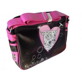 Borsa Tracolla scuola Spongenob nero con cuore rosa *10052