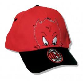 Cappellino baseball taglia 2/4 anni rosso nero ufficiale A.C.Milan *19466