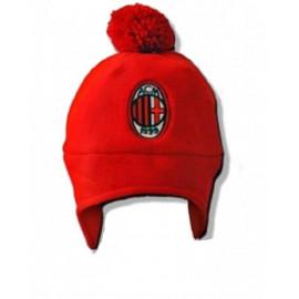 Cappellino ponpon cuffia  in pile rosso nero ufficiale A.C.Milan 01120
