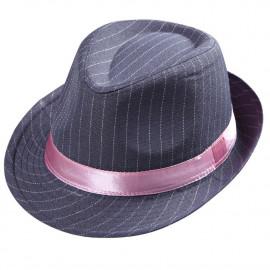 Cappello Fedora Gessato per Costume Carnevale Gangster Donna PS 19679