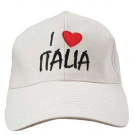Cappello Adulto Con Visiera I Love Italia Bianco | Pelusciamo.com