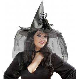 Cappello Strega Con Ragno E Tulle Costume Halloween PS 09051 Pelusciamo Store Marchirolo