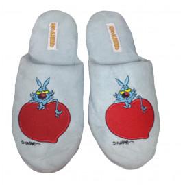 Pantofole Lupo Alberto - ciabatte colore celeste con cuore -Taglia | Pelusciamo.com