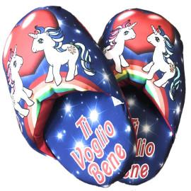 Ciabattone Unicorno Ti Voglio Bene Regalo San Valentino PS 26430 Pelusciamo Store Marchirolo