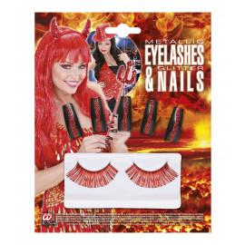 Make Up Halloween, Ciglia e Unghie Glitter Rosso  | pelusciamo.com